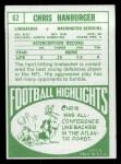 1968 Topps #62  Chris Hanburger  Back Thumbnail