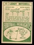 1968 Topps #45  Leroy Mitchell  Back Thumbnail
