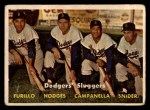 1957 Topps #400  Dodgers' Sluggers  -  Carl Furillo / Gil Hodges / Roy  Campanella / Duke Snider Front Thumbnail