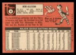 1969 Topps #30  Bob Allison  Back Thumbnail