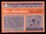 1970 Topps #98   Ben Hawkins Back Thumbnail