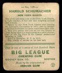 1933 Goudey #129  Hal Schumacher  Back Thumbnail