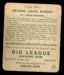 1933 Goudey #198   Jack Burns Back Thumbnail