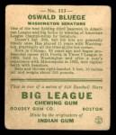 1933 Goudey #113  Ossie Bluege  Back Thumbnail