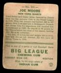 1933 Goudey #231   Joe Moore Back Thumbnail