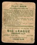 1933 Goudey #136   Flint Rhem Back Thumbnail