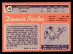 1970 Topps #185  Dennis Partee  Back Thumbnail