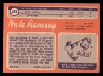 1970 Topps #239   Nate Ramsey Back Thumbnail