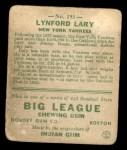 1933 Goudey #193  Lyn Lary  Back Thumbnail