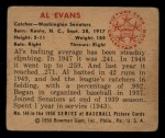 1950 Bowman #144   Al Evans Back Thumbnail