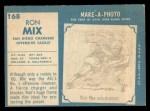 1961 Topps #168   Ron Mix Back Thumbnail