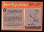 1970 Topps #61   Glen Ray Hines Back Thumbnail