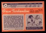 1970 Topps #80   Fran Tarkenton Back Thumbnail