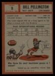 1962 Topps #9   Bill Pellington Back Thumbnail