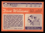 1970 Topps #208   Dave Williams Back Thumbnail