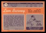 1970 Topps #75   Lem Barney Back Thumbnail
