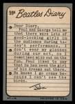 1964 Topps Beatles Diary #59 A John Lennon  Back Thumbnail