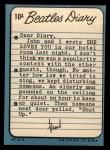 1964 Topps Beatles Diary #10 A Paul McCartney  Back Thumbnail