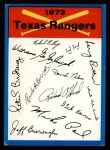 1973 Topps Blue Team Checklists  Texas Rangers  Front Thumbnail