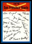 1973 Topps Blue Team Checklists #22   San Francisco Giants Front Thumbnail