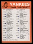 1973 Topps Blue Team Checklists #17   New York Yankees Back Thumbnail