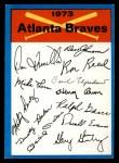 1973 Topps Blue Team Checklists #1   Atlanta Braves Front Thumbnail