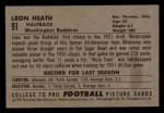 1952 Bowman Small #91   Leon Heath   Back Thumbnail