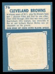 1961 Topps #76   Browns Team Back Thumbnail