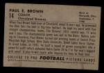 1952 Bowman Small #14   Paul Brown Back Thumbnail