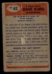 1955 Bowman #62   George Blanda Back Thumbnail