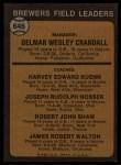 1973 Topps #646  Brewers Field Leaders  -  Del Crandall / Harvey Kuenn / Joe Nossek / Bob Shaw / Jim Walton Back Thumbnail