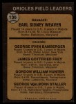 1973 Topps #136 ORG Orioles Leaders  -  Earl Weaver / George Bamberger / Jim Frey / Billy Hunter / George Staller Back Thumbnail
