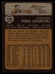 1973 Topps #138   Horacio Pina Back Thumbnail
