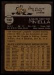 1973 Topps #140  Lou Piniella  Back Thumbnail
