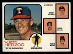 1973 Topps #549  Rangers Leaders  -  Whitey Herzog / Chuck Estrada /  Chuck Hiller / Jackie Moore Front Thumbnail