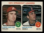 1973 Topps #67  1972 Strikeout Leaders  -  Steve Carlton / Nolan Ryan Front Thumbnail
