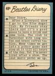 1964 Topps Beatles Diary #48 A  John Lennon Back Thumbnail