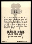 1964 Topps Beatles Movie #32  Paul Ringo George'S Favorite Scene  Back Thumbnail