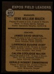 1973 Topps #377  Expos Field Leaders  -  Gene Mauch / Dave Bristol / Larry Doby / Cal McLish / Jerry Zimmrman Back Thumbnail