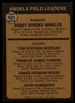 1973 Topps #421 ^ORG^  -  Bobby Winkles / Tom Morgan / Salty Parker / Jimmie Reese / John Roseboro Angels Leaders Back Thumbnail