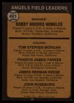 1973 Topps #421 ORG Angels Field Leaders  -  Bobby Winkles / Tom Morgan / Salty Parker / Jimmie Reese / John Roseboro Back Thumbnail