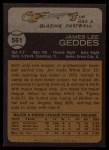 1973 Topps #561  Jim Geddes  Back Thumbnail