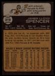 1973 Topps #319   Jim Spencer Back Thumbnail