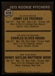 1973 Topps #610   -  Jimmy Freeman / Charlie Hough / Hank Webb Rookie Pitchers Back Thumbnail