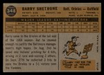 1960 Topps #348   Barry Shetrone Back Thumbnail