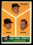 1960 Topps #469  Giants Coaches  -  Wes Westrum / Salty Parker / Bill Posedel Front Thumbnail