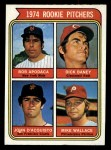 1974 Topps #608 ^COR^  -  Dick Baney / John D'Acquisto / Mike Wallace / Bob Apodaca Rookie Pitchers   Front Thumbnail