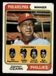 1974 Topps #119  Phillies Leaders   -  Danny Ozark / Carroll Beringer / Bill DeMars / Ray Ripplemeyer / Bobby Wine Front Thumbnail