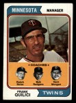 1974 Topps #447  Twins Leaders    -  Frank Quilici / Ver Morgan / Bob Rodgers / Ralph Rowe Front Thumbnail