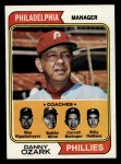 1974 Topps #119  Phillies Leaders   -  Danny Ozark / Carroll Beringer / Bill DeMars / Ray Ripplemeyer / Bobby Wine Front Thumbnail